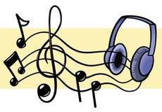 Musik och hörlurar Arkivfoto