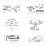 Musik och instrument - logoer och emblem vektor illustrationer