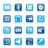 Musik- och ljudsignalutrustningsymboler Royaltyfri Bild