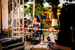 Musik- och poesifestivalförberedelse arkivfoto