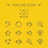 Musik och tunn linje symbolsuppsättning för underhållning Arkivbild