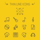 Musik och tunn linje symbolsuppsättning för underhållning Fotografering för Bildbyråer