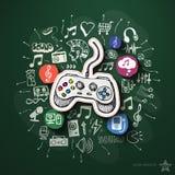 Musik- och underhållningcollage med symboler på Arkivbild