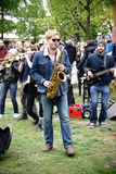 Musik på 1st den Maj demonstrationen Fotografering för Bildbyråer