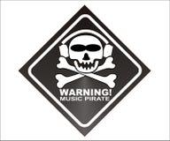musik piratkopierar varning Arkivbild
