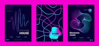 Musik-Poster stellte witn Wellen-Linien und Verzerrung ein vektor abbildung