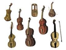 Musik 1850 published in Copenhagen, a vintage illustration of a violin, classical guitar and flute variants. Royalty Free Illustration