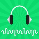 Musik-Schallwellen und Kopfhörer-abstrakter flacher Vektor-Hintergrund Lizenzfreies Stockfoto