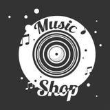 Musik shoppar det svartvita emblemet med det gamla vinylrekordet vektor illustrationer