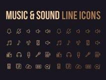 Musik solid vektorlinje symbol för app, svars- mobil website Royaltyfri Bild