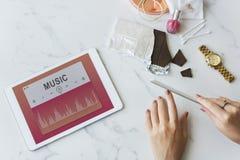 Musik-solides Spieler-Unterhaltungs-Multimedia-Grafik-Konzept Stockfoto