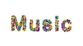 Musik som bildas från färgrika bollar över vit Royaltyfria Foton