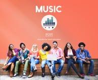 Musik som spelar Melody Audio Rhythm Concept Arkivfoto