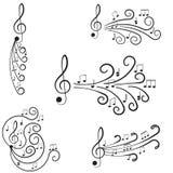 Musik. Trebleklav och anmärkningar för din design. Fotografering för Bildbyråer
