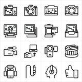 Musik- und Kameraikone lizenzfreie abbildung