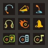 Musik-und Ton-Ikonen lizenzfreie abbildung
