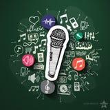 Musik- und Unterhaltungscollage mit Ikonen an Stockbilder