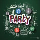 Musik- und Unterhaltungscollage mit Ikonen an Lizenzfreie Stockbilder