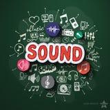 Musik- und Unterhaltungscollage mit Ikonen an Stockfotografie