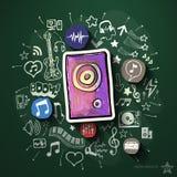 Musik- und Unterhaltungscollage mit Ikonen an Lizenzfreies Stockbild