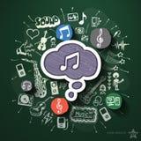 Musik- und Unterhaltungscollage mit Ikonen an Stockfoto