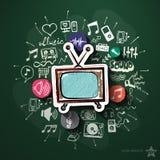 Musik- und Unterhaltungscollage mit Ikonen an Lizenzfreie Stockfotografie