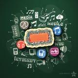 Musik- und Unterhaltungscollage mit Ikonen an Stockfotos
