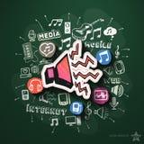 Musik- und Unterhaltungscollage mit Ikonen an Stockbild