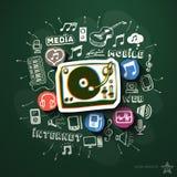 Musik- und Unterhaltungscollage mit Ikonen an Lizenzfreie Stockfotos