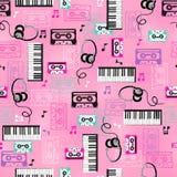 Musik-vektornahtloses Wiederholungs-Muster Stockbilder