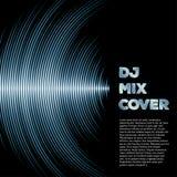 Musikabdeckung mit Wellenform als Vinylnuten Stockbilder