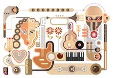 Musikaffär - vektorillustration vektor illustrationer