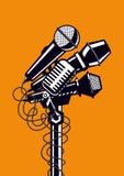 Musikaffisch med mikrofoner stock illustrationer