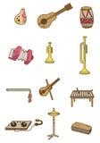 musikal för tecknad filmsymbolsinstrument stock illustrationer