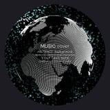 Musikalbum-Abdeckung Schabloneen Weltkugel, global vektor abbildung