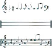 musikalen bemärker set symboler Royaltyfri Fotografi