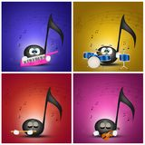 Musikalische Anmerkung spielt verschiedene Instrumente lizenzfreie abbildung