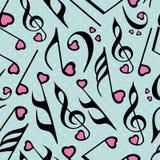Musikalische Anmerkungen mit nahtlosem Muster Stockbilder