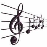 Musikalische Anmerkungen mit Schärfentiefe Stockbild