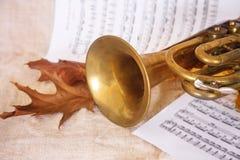 Musikalische Anmerkungen und Trompete lizenzfreie stockfotografie
