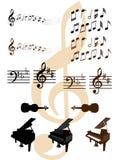 Musikalische Auslegungelemente Stockfotos