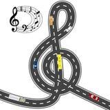 Musikalische Automobilausrüstung Zur Musik des Weges kürzer Humorvolles Bild Abbildung Stockfotografie