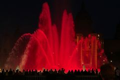 Musikalische Brunnen in Spanien Bunte Brunnen Lizenzfreies Stockbild