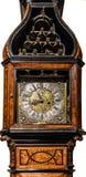 Musikalische elegante großväterliche Uhr lokalisiert auf Weiß Lizenzfreie Stockfotografie