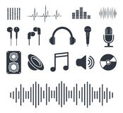 Musikalische Ikonen Ausweise für Musikspieler Auch im corel abgehobenen Betrag stock abbildung