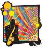 Musikalische Jazzparty mit Saxophonisten Lizenzfreies Stockbild
