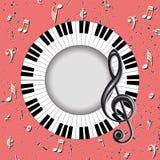 Musikalische Karte mit Violinschlüssel und Fingerboard Stockbild