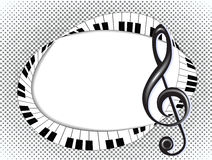 Musikalische Karte mit Violinschlüssel und Fingerboard auf halftone3 Stockbild