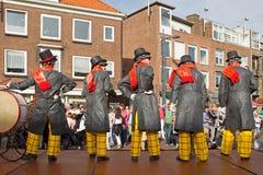 Musikalischer Ausführender an den Lebenstatuen der Weltmeisterschaften in Arnhem Stockfotos
