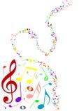 Musikalischer Hintergrund mit farbigen Musikanmerkungen Stockbild